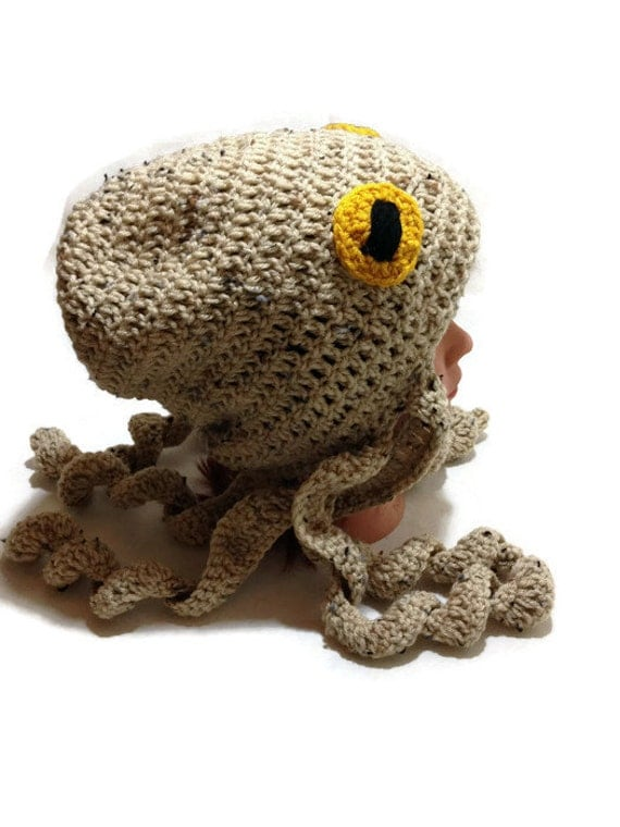Crochet Octopus Hat Tan Octopus Beanie Slouchy Novelty Hat Octopus ...
