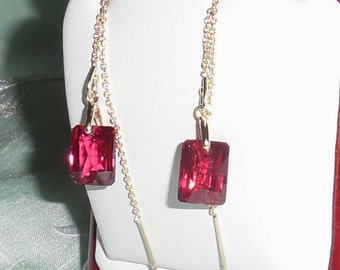 19 cts Emerald Checkerboard cut Red Topaz stones, 14kt yellow gold Threader Pierced Earrings