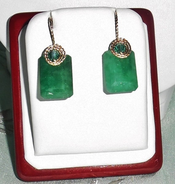 36 cts Earth Mined Octagon cut Emerald gemstones, 14kt yellow gold Pierced Earrings