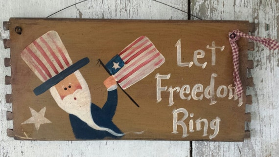Uncle Sam Americana Primitive Uncle Sam Let Freedom Ring