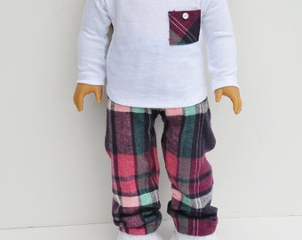 American Made Doll Clothes - Flannel, Pj's, Pink & Navy Plaid, White Long Sleeved Pocket Tee, AG Doll, 18 inch