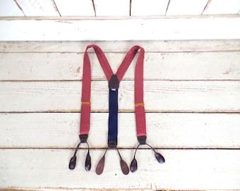 Vintage red burgundy polka dot button tab silk suspenders/vintage braces