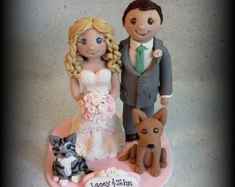 Wedding Cake Topper, Custom, Personalized Polymer Clay Bride and Groom with two Pets and Date Plaque, Wedding/Anniversary Keepsake