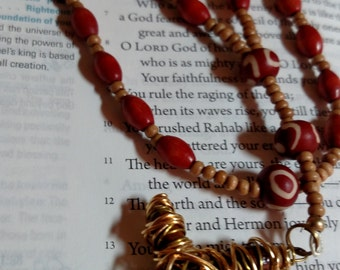 R104 Anglican Rosary, Wood Protestant Prayer Beads