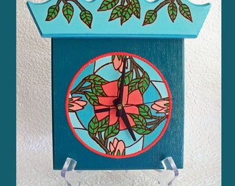 Teal Wall or Table Clock with Bonus Stand