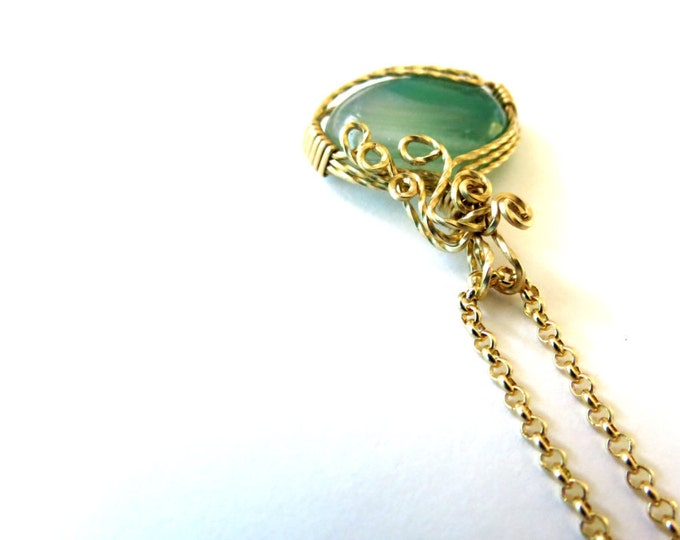 Green Agate, Gold Pendant in Cascading Design, Handcrafted Jewelry, Artisan Made, Gemstone jewelry, Gold Filled, Gift Idea for Wife