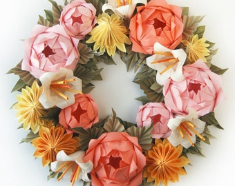 Pink Rose and Yellow Dahlia Origami Paper Wreath, Mother's Day Wreath, Spring Wreath, Easter Wreath