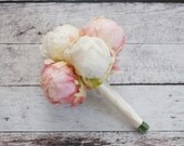 Ivory and Blush Pink Peony Wedding Bouquet - Peony Bud Bouquet