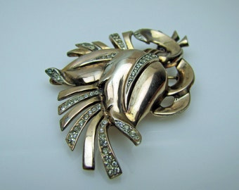 1940s Art Deco Sterling Silver Large Flower Brooch. Pave Set Crystal Rhinestones. Gold Plated. Figural Tulip. Rare Fred Biederbach Nordic