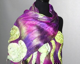 Felted scarf. Nuno felted scarf. Purple and green scarf.