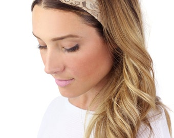 CHAMPAGNE LACE HEADBAND, wide tan lace stretch headband