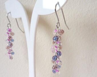 Pink and Purple Bead Earrings, Shaggy Loop Earrings, Chainmaille Earrings, Surgical Steel, Hypoallergenic, UK Seller