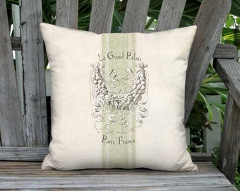 Small Pillow - Le Grand Palais Green Grain Sack Style Pillow Cover - 12x12 14x14 Inch Linen Cotton Cushion Cover