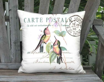 Pillow Cover - Pillow - Pinkberry and Apricot Hummingbird French Cottage Bird Decor - 16x 18x 20x 22x 24x Inch Linen Cotton Cushion Cover