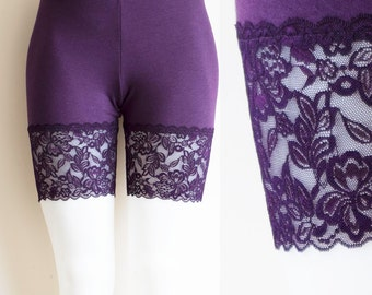 Lace Bike Shorts Purple Plum Bamboo