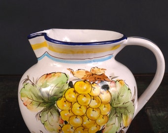 Italian Ceramic Pitcher with Hand Painted Grape Design