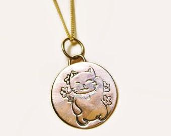 Lucky Cat 14k Yellow Gold Pendant w/o Chain Maneki Neko Chinese Lucky Cat Charm