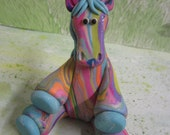 Colorful Sitting Swirl Polymer Clay Pony!