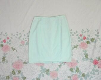 90's Mint Light Cotton Denim Pencil Skirt 1990's Pistachio Pastel High Waist Pin Up Skirt / All That Jazz / Tight / Bodycon / Summer 5 M