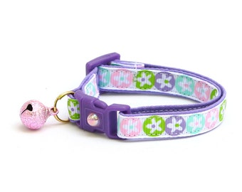 Floral Cat Collar - Spring Flowers in Pastel - Small Cat / Kitten Size or Large Size