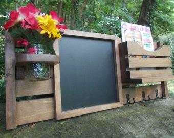 Message Center--Chalkboard--Kitchen Decor--Mail Organizer--Magazine Holder