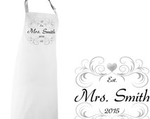 Personalised Mrs. Future Bride Marriage Apron  - FREE Shipping - Your choice of Size, Colour & Text - Perfect Personalized WEDDING GIFT