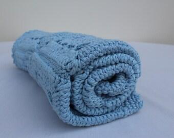 Baby blanket new born boy blue crochet cotton