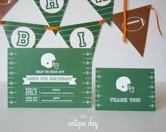 Football Invitation - Printed Invitation - Printable Invitation - Football Birthday Party - Boy Birthday  - Thank you card // FOO - 08