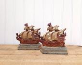 Vintage Cast Iron Ship Bookends Nautical