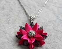 Hot Pink Necklace, Hot Pink and Black, Hot Pink Jewelry, Pink Flower Necklace, Custom Necklace, Flower Pendant Necklace, Handmade Necklaces