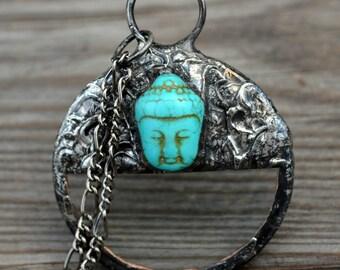 Buddha Necklace, Magnifier Pendant, Namaste, Howlite Inset, Buddha Jewelry, Unisex Magnifier, Buddha Unisex Necklace, Zen Jewelry (2346)