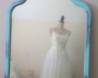 A N T I Q U E ...Turquoise Mirror Shabby Cottage Chic, Vintage Aqua