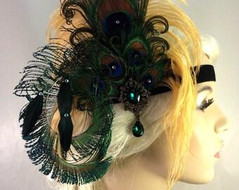 Flapper Headpiece, Great Gatsby Headband, Downton Abbey, 1920s Headband, 1920s Headpiece, Flapper Girl Headband, Gold, Green and Black