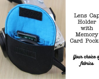 DSLR Camera Lens Cap Holder with Memory Card Pocket  - Choose Size and Custom Fabrics - Made to Order