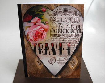 Victorian Travel Card, Heart Card with Envelope, Original Art Card and Chocolate Envelope, Blank Card