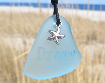 Sea Glass Dreams and Wishes Aqua Starfish Necklace by Wave of Life™