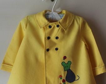 Vintage Toddler Jacket Vintage Yellow Applique Toddler Coat Vintage Pert'n Sassy Styled by Miss Bea Toddler's Coat