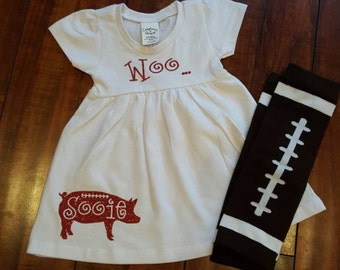 Woo Pig Sooie baby dress with leg warmers, perfect for Arkansas Razorback football fans.
