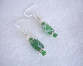 Fish hook earrings with glass beads and Mother of Pearl. green and white, summer jewelry, simple earrings