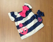 Navy White Stripe Dress Hot Pink Anchor Embroidery Bow Matching Boutique Bow Newborn 0-3 Month 3-6 Month 6-9 9-12 12 18 Month 2T 3T 4T 5T 6