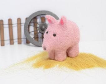 Felted Pig Miniature - Needle Felted Animal