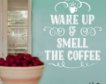 Wake up and smell the coffee wall decal, hand lettered typographic gold decal - Kitchen decor