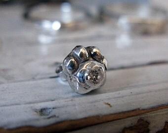 Dog Paw Stud Earring - Silver Dog Paw - CZ - Diamond - Handmade - Artisan - Silver - Stud Earring - Dog Paw Stud - Paw - Post - Dog Paw-