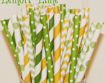 Paper Straws, 25 Lemon Lime Paper Straw Mix, MADE IN USA, Paper Drinking Straws, Striped Straws, Chevron Paper Straws, Lemonade Party Straws