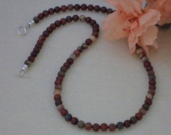Apple Jasper Gemstone Necklace  FREE SHIPPING