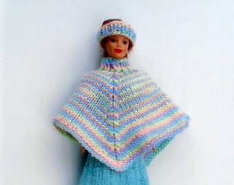 Barbie knitted dress in turq and a varigated poncho and headband to match