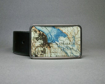 Belt Buckle Tacoma Washington Map Puyaleup Indian Reservation Unique Gift for Men or Women