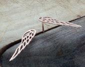 Gold Angel Wing Earrings, Rose Gold Stud Earring, Delicate Wing Earring, Wing Post Earring, Simple Dainty Earring, Bridal/Bridesmaid Earring