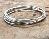 Bracelet Bangle Set, Sterling Silver 5 Interlocked Bracelets, Linked Stacking Bracelets, Connected Bracelets, Rolling Stack Bracelets