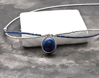 Lapis Lazuli Necklace, Silver Seed Beads Thin Delicate Necklace, Dainty Simple Everyday Blue Lapis Necklace, Minimalist Gemstone Necklace